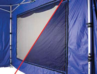 Faltzelt Seitenteile mit Netzfenster offen - geschlossen