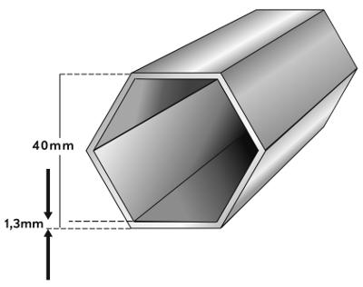 Rahmenprofil Faltpavillon 40mm 6-Kant