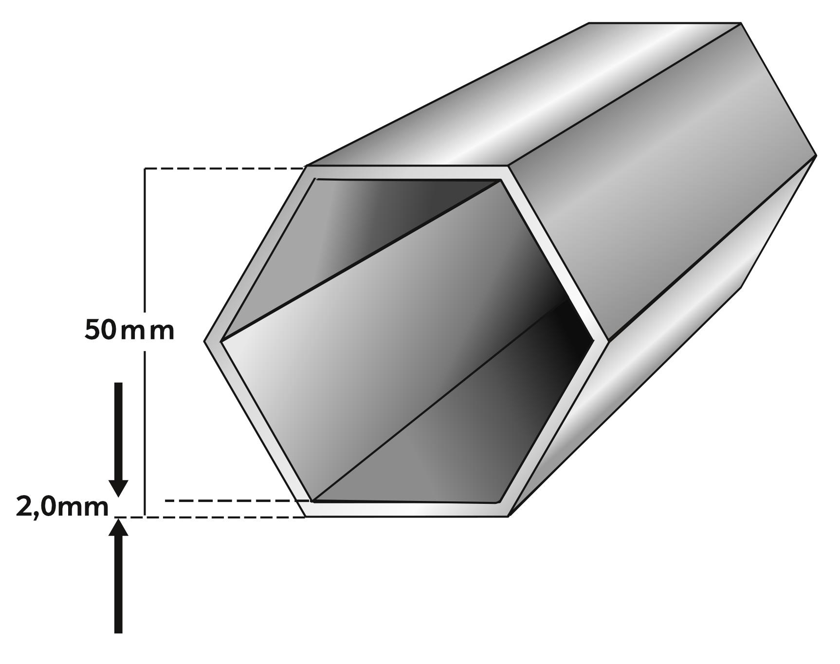 Rahmenprofil Faltzelt 50mm 6-Kant