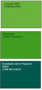 Die Grünen Farbvergleich