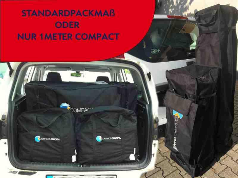 Größenvergleich Compact Canopy Faltzelt und Standard